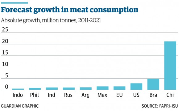 Forecast growth in meat consumption