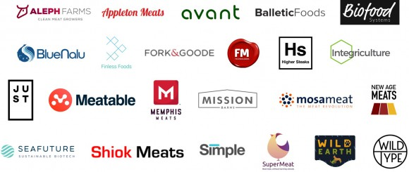 Logos of cultivated meat companies