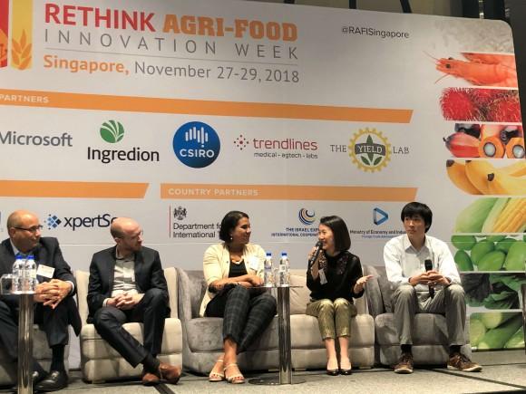 Rethink agri-food innovation week in singapore with lou cooperhouse, blue nalu; rom kshuk, future meat; sandhya sriram, shiok meats; elaine siu, gfi; yuki hanyu, integriculture