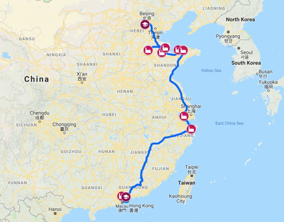 Map of 2,000 miles, eight cities, and 10 day path through china