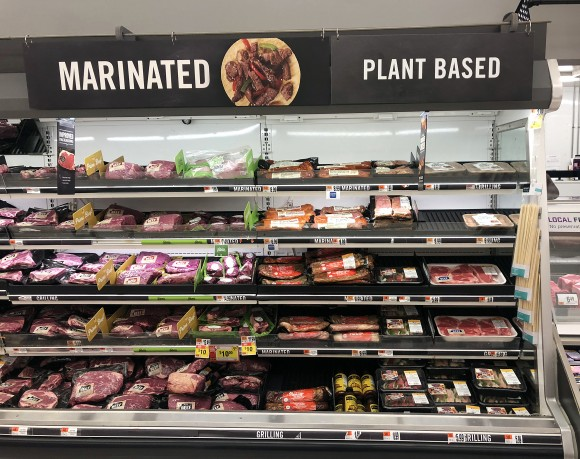 Plant-based meat next to conventional meat in Giant Food