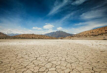 Dry Dhankar lake in Himalayas mountains.