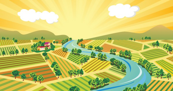 Rendering of river running through agricultural fields