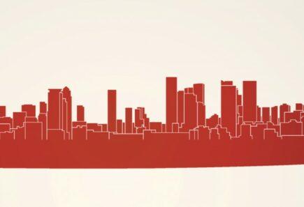 Red skyline of buildings