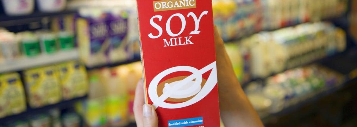 Carton of organic soy milk