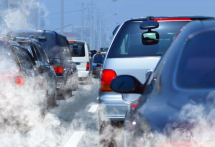Cars surrounded by pollution