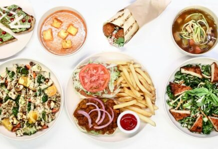Various plates from Veggie Grill