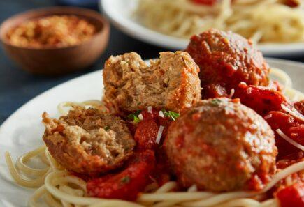 Beyond beef meatballs in spaghetti