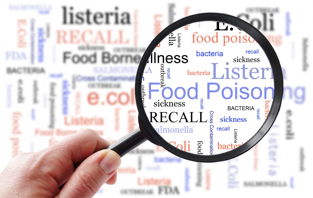 Magnifying glass over food poisoning words