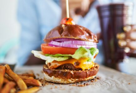 Plant-based burger and fries