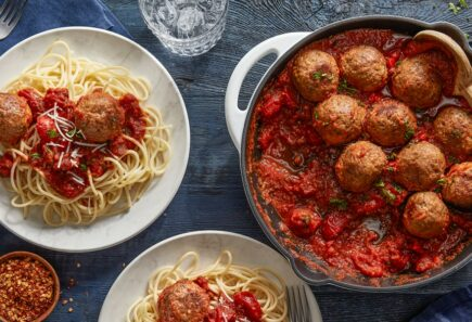Beyond Meatballs in pan and in spaghetti