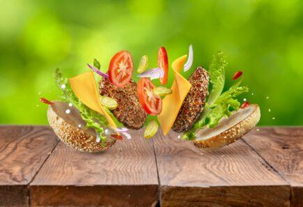 Deconstructed plant-based burger