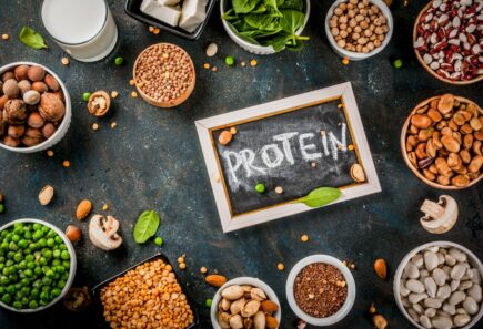 Nuts and legumes in bowls with protein sign