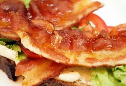 Plant-based bacon on toast