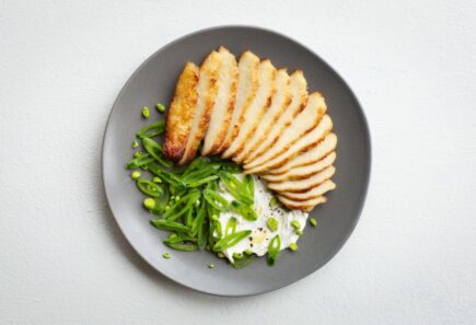 Seared alternative protein and snap peas