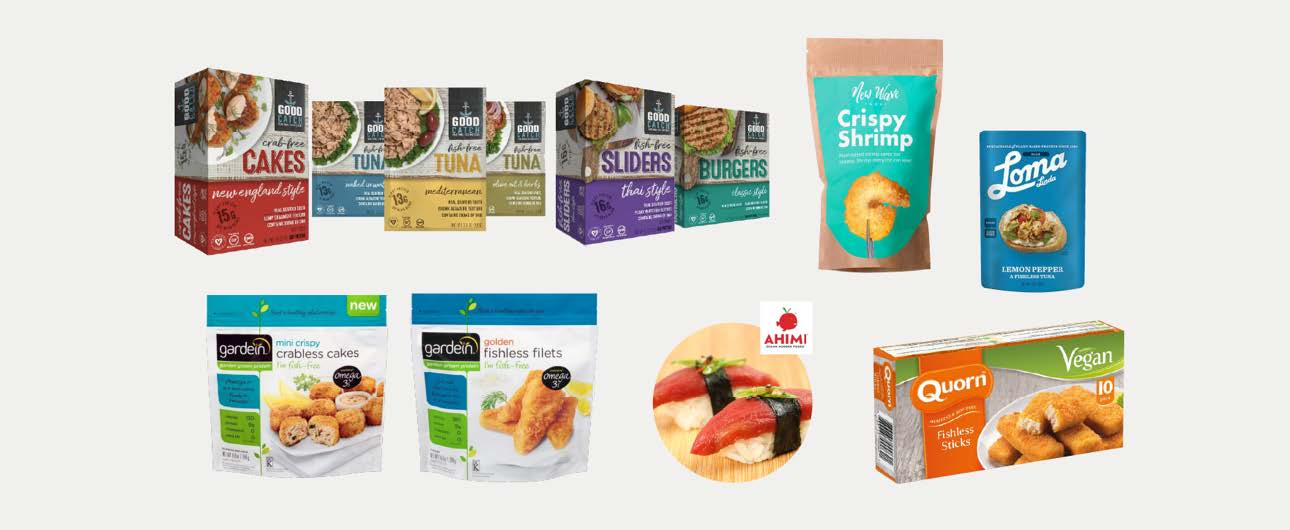 Representative pre-market and on-market plant-based seafood product offerings