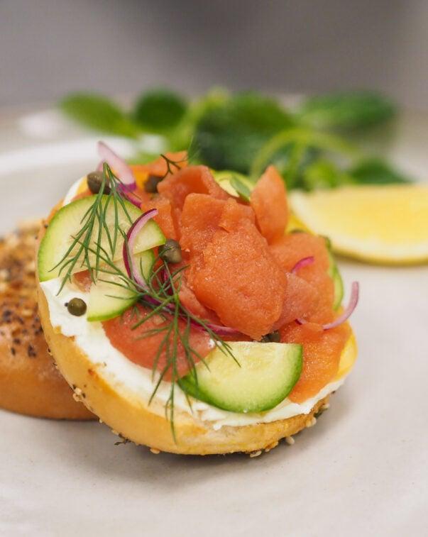 Salmon lox on a bagel