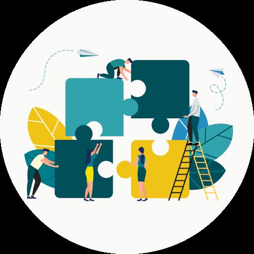 Collaborative research concept illustration