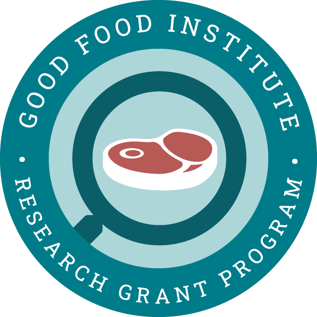 GFI's Competitive Research Grants Program Badge, featuring a whole cut of meat within a magnifying glass representing research