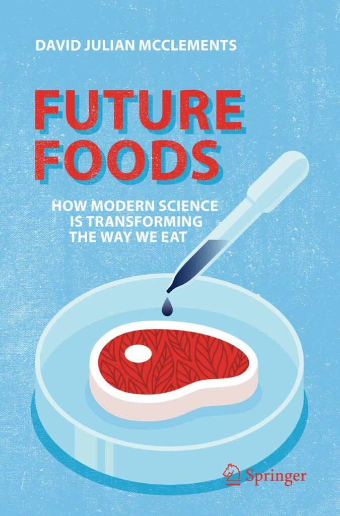 Book cover for Future Foods, depicting vector graphic of meat on a plate