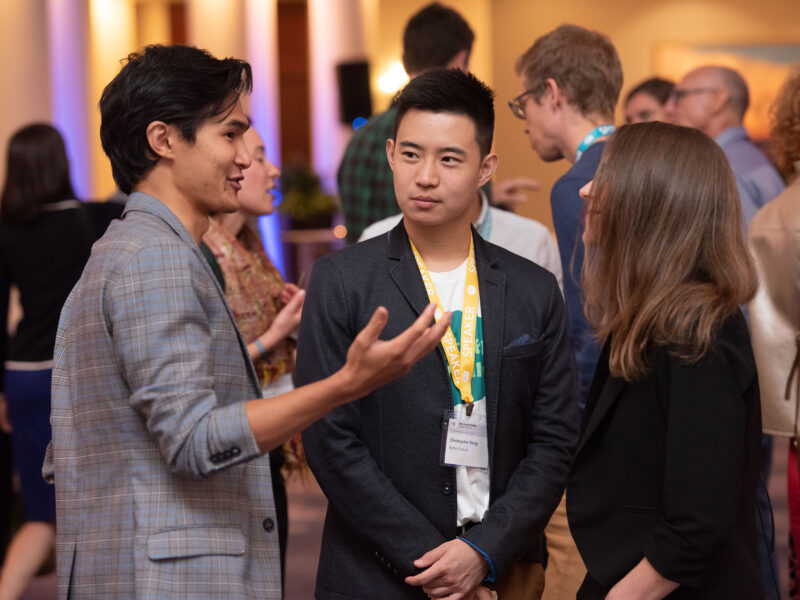 A group of people discuss alt proteins at the good food conference 2019 vip reception
