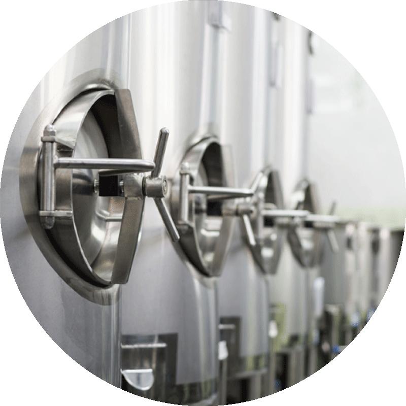 Row of fermentation tanks