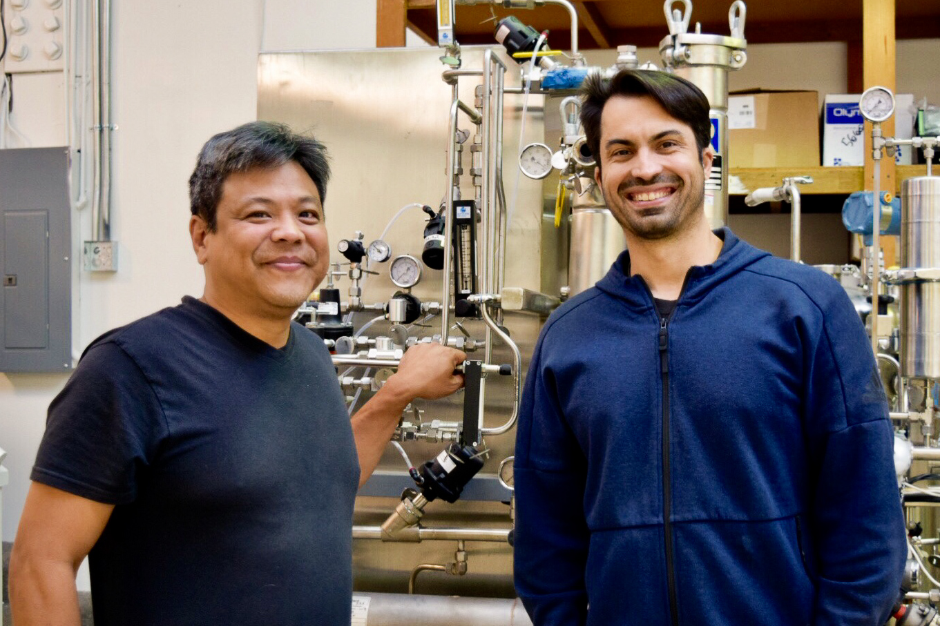 Wild Earth team Dr. Ron Shigeta & Ryan Bethencourt smiling in their research facility | Source: Wild Earth