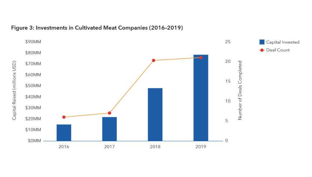 Graph of Investments in Cultivated Meat Companies (2016–2019)
