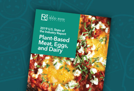 Plant-based State of the Industry Report cover with vector graphic background