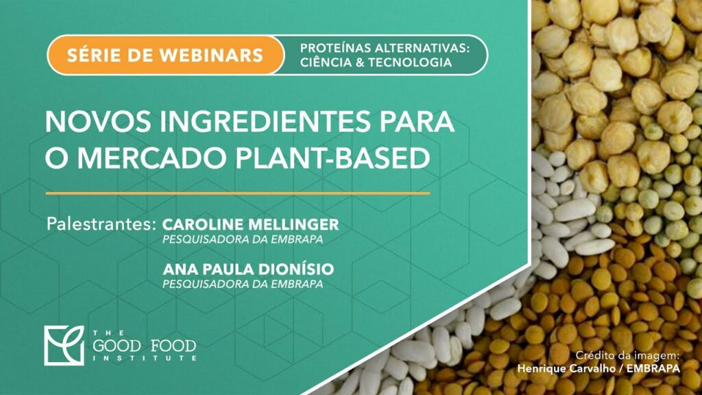 "A screenshot of the ""Novos ingredientes para o mercado plant-based"" (in Portuguese) webinar presentation's first slide"