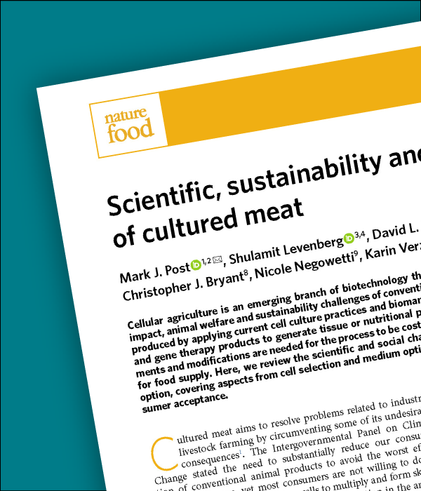 """A preview of dr. Mark post's paper """"scientific, sustainability and regulatory challenges of cultured meat"""" published in nature"""