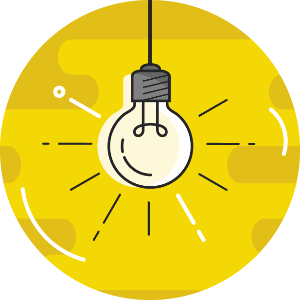 Glowing light bulb icon