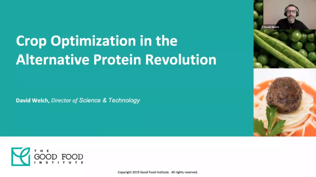 A screenshot from gfi's presentation on crop optimization for plant-based meat