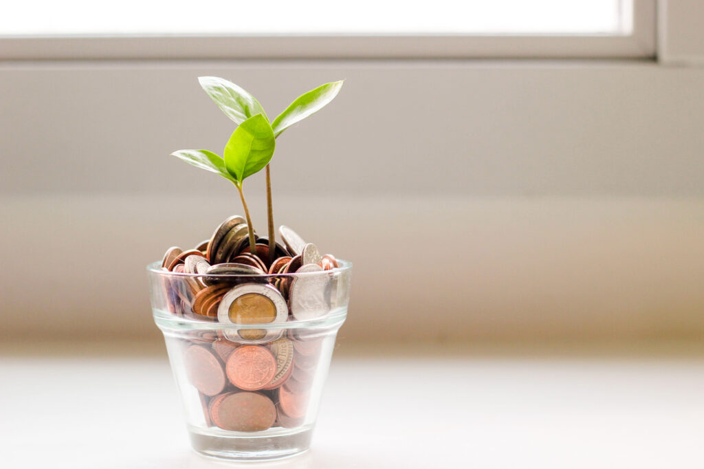 A small glass on a windowsill filled with coins and a sprouting plant
