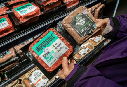 A shopper compares plant-based meat products in a supermarket aisle