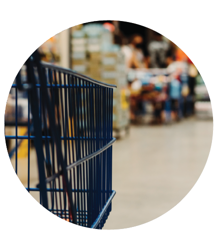 Shopping cart in circle icon
