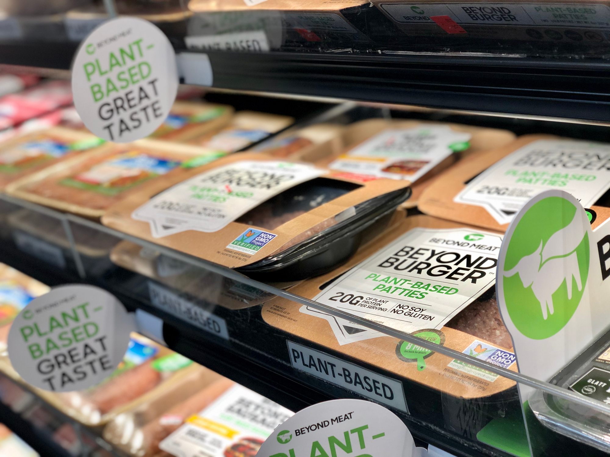 Beyond meat burgers merchandised in the refrigerated section