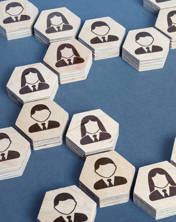 Network concept for career development, icons of people in hexagons