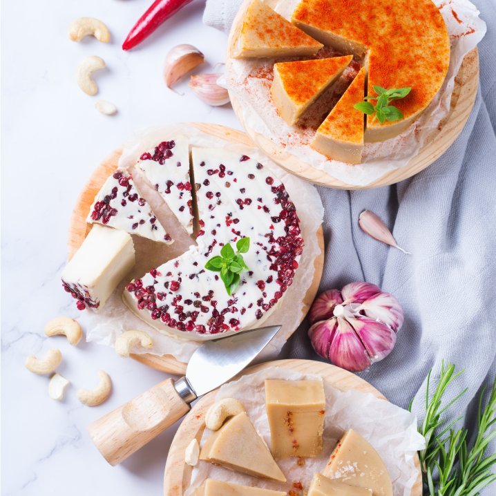 Plant based cheese wheels and ingredients from above
