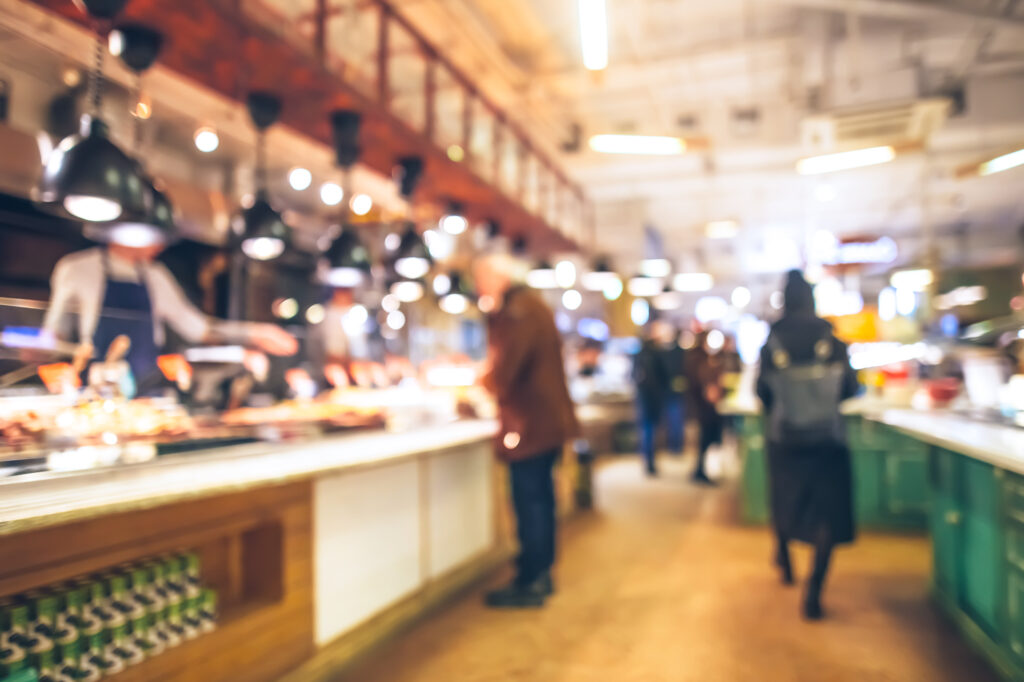 Blurry restaurant and bar scene