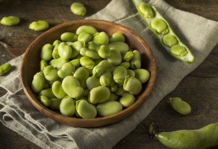 Fresh fava beans in a bowl