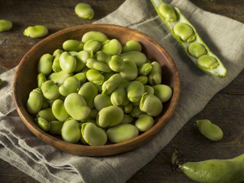 Fresh fava beans in a bowl