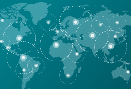 World map graphic with circles representing communication and global collaboration