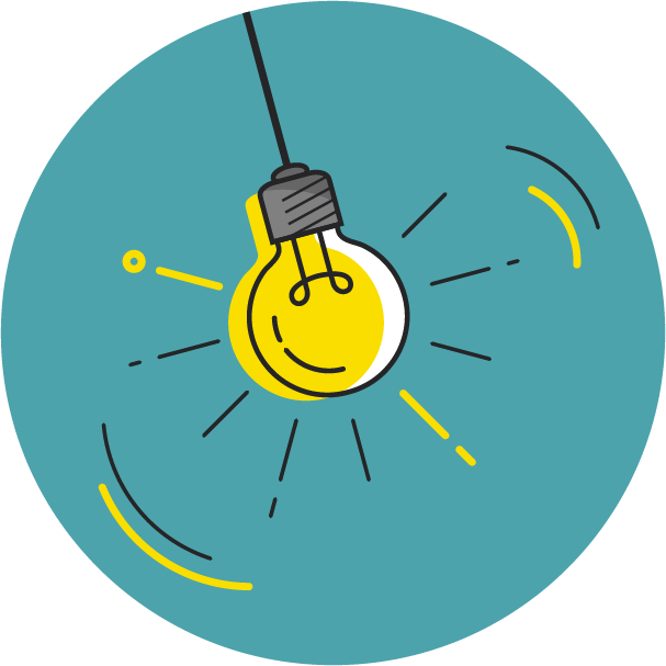 Swinging lit lightbulb graphic representing gfi's innovation priorities