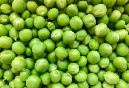 Close up view of green peas