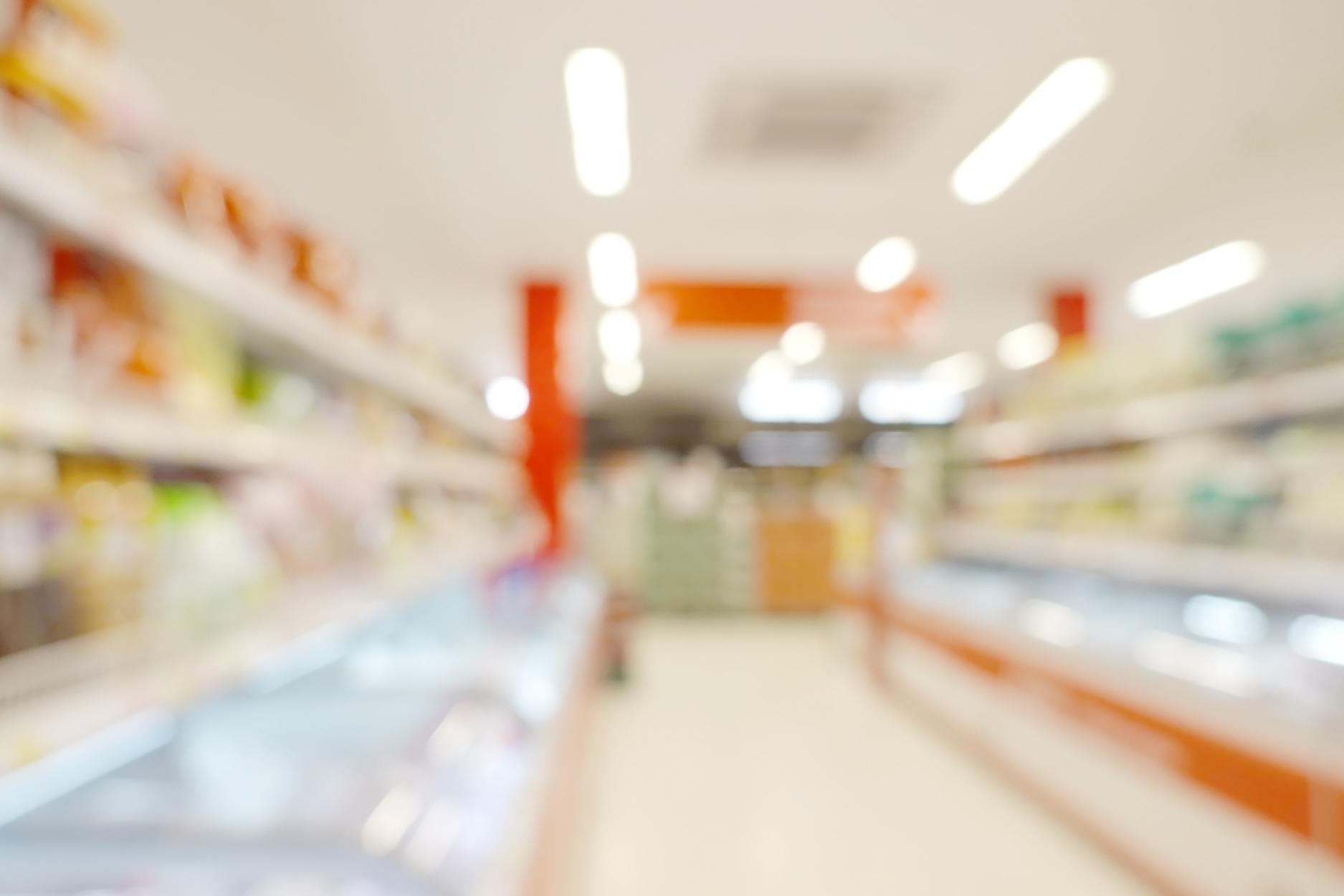 Blurry supermarket aisle