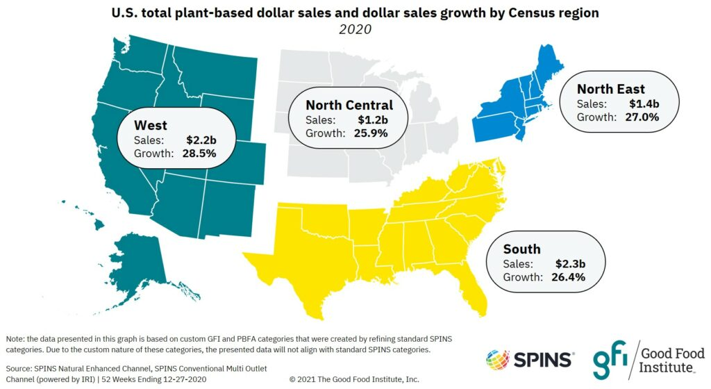 Map showing that the west census region had the highest plant-based dollar sales growth at 28.5%