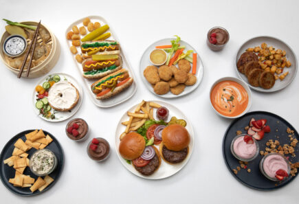 A spread of plant-based foods from nature's fynd, from above