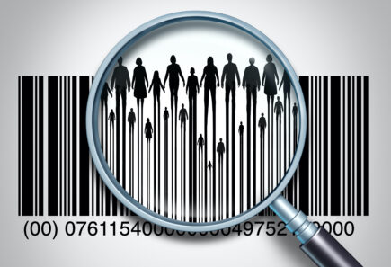 Magnifying glass on barcode showing people silhouettes