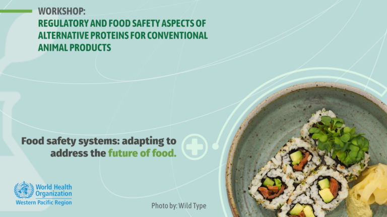 Good food institute and world health organization workshop event banner. Regulatory and food safety aspects of alternative proteins for conventional animal products.